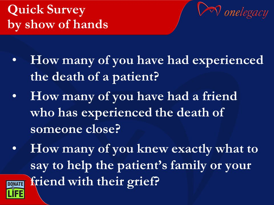 Quick Survey by show of hands How many of you have had experienced the death of a patient? How many of you have had a friend who has experienced the d