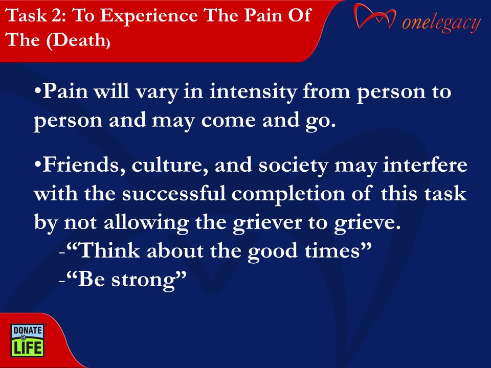 Pain will vary in intensity from person to person and may come and go. Friends, culture, and society may interfere with the successful completion of t