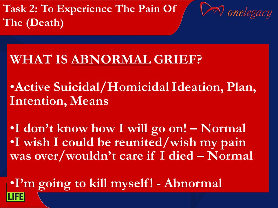 WHAT IS ABNORMAL GRIEF? Active Suicidal/Homicidal Ideation, Plan, Intention, Means I don't know how I will go on! – Normal I wish I could be reunited/