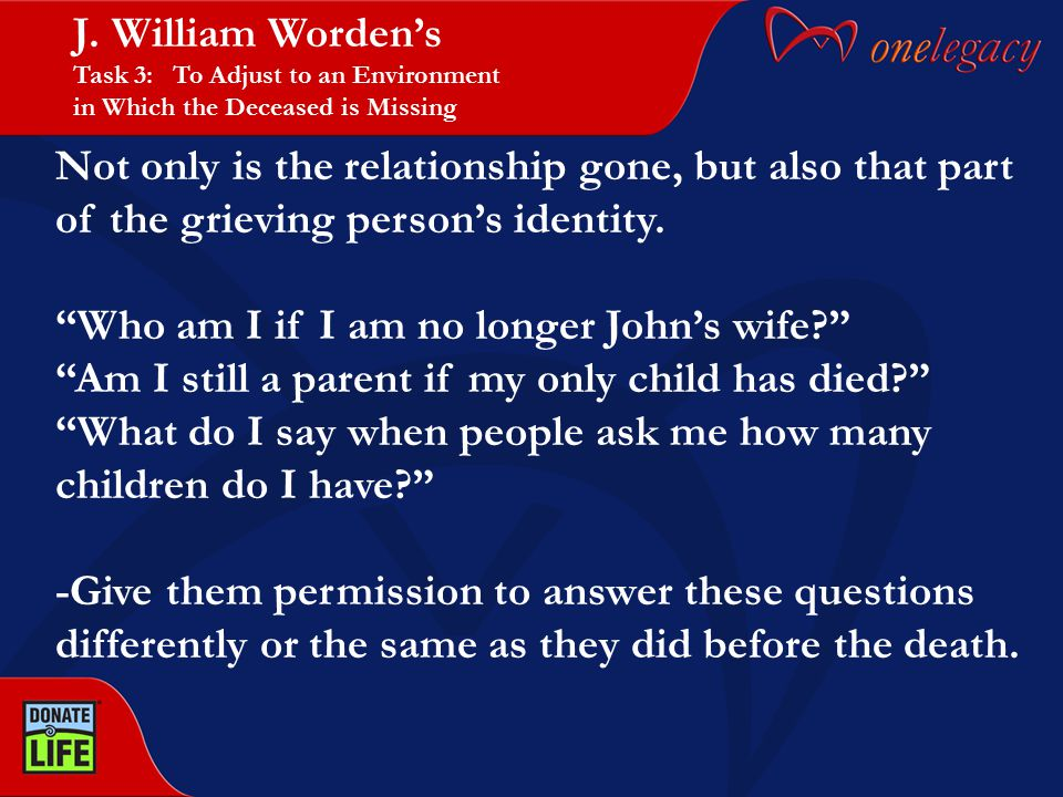 "Not only is the relationship gone, but also that part of the grieving person's identity. ""Who am I if I am no longer John's wife?"" ""Am I still a paren"