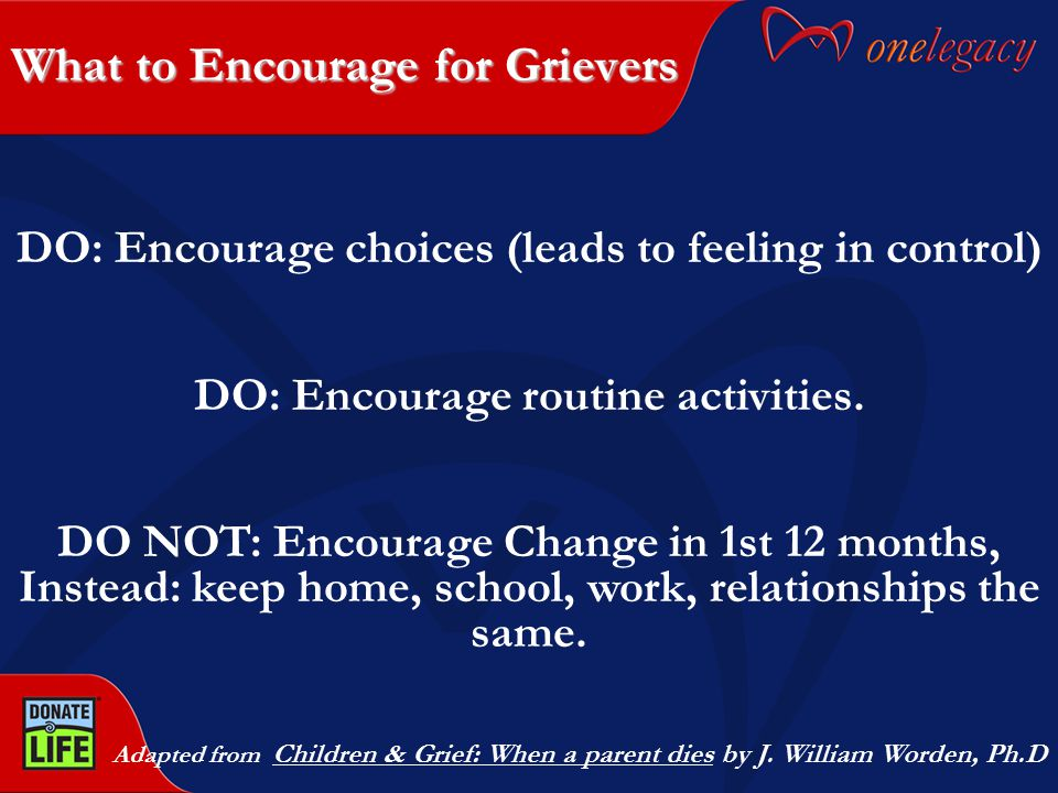 What to Encourage for Grievers Adapted from Children & Grief: When a parent dies by J. William Worden, Ph.D DO: Encourage choices (leads to feeling in