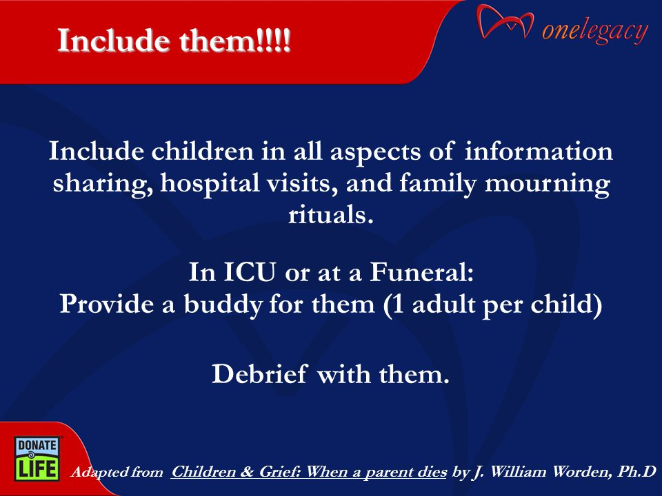 Include them!!!! Adapted from Children & Grief: When a parent dies by J. William Worden, Ph.D Include children in all aspects of information sharing,