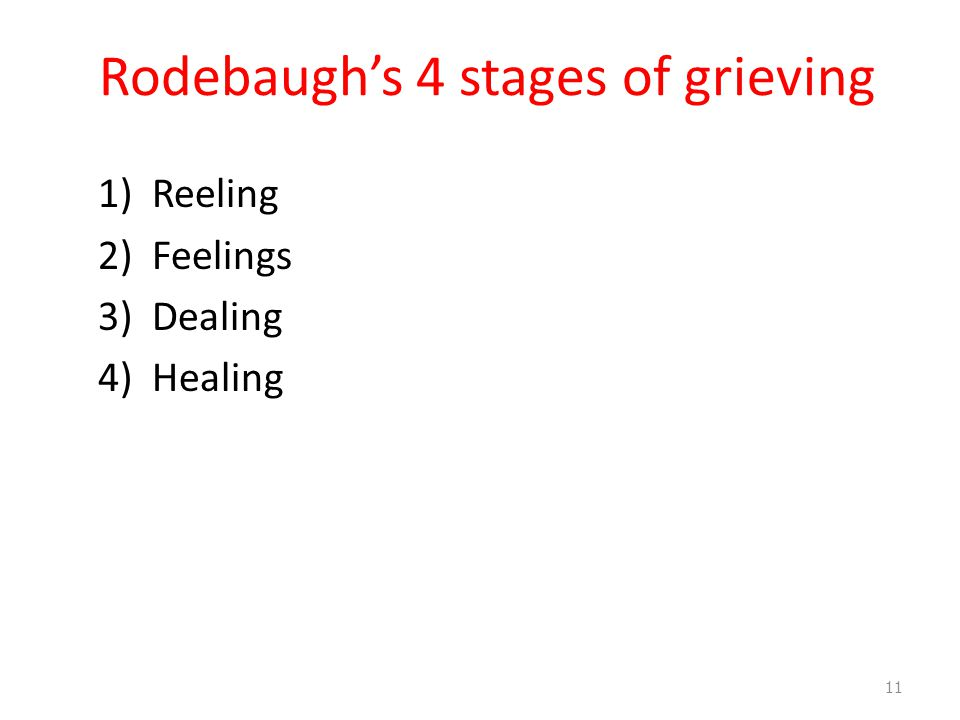 Rodebaugh's 4 stages of grieving 1)Reeling 2)Feelings 3)Dealing 4)Healing 11