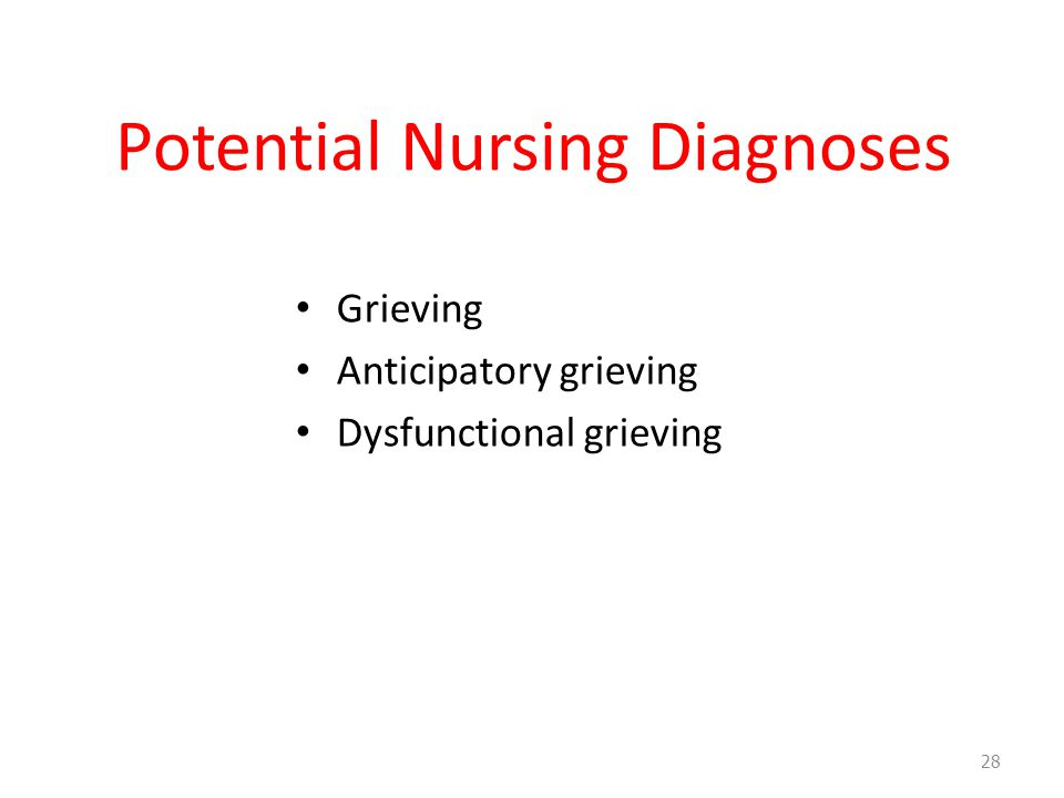 Potential Nursing Diagnoses Grieving Anticipatory grieving Dysfunctional grieving 28