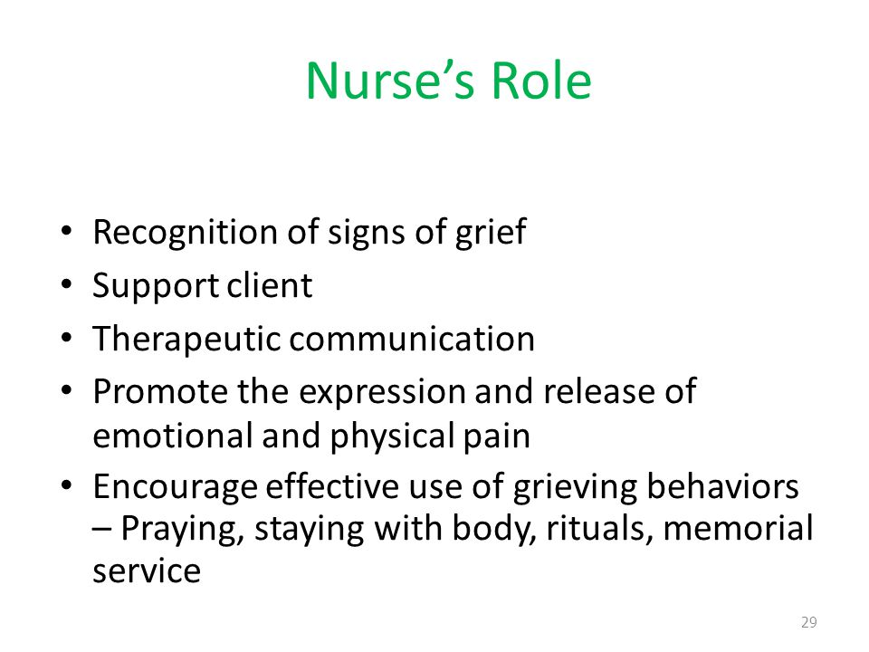 Nurse's Role Recognition of signs of grief Support client Therapeutic communication Promote the expression and release of emotional and physical pain Encourage effective use of grieving behaviors – Praying, staying with body, rituals, memorial service 29