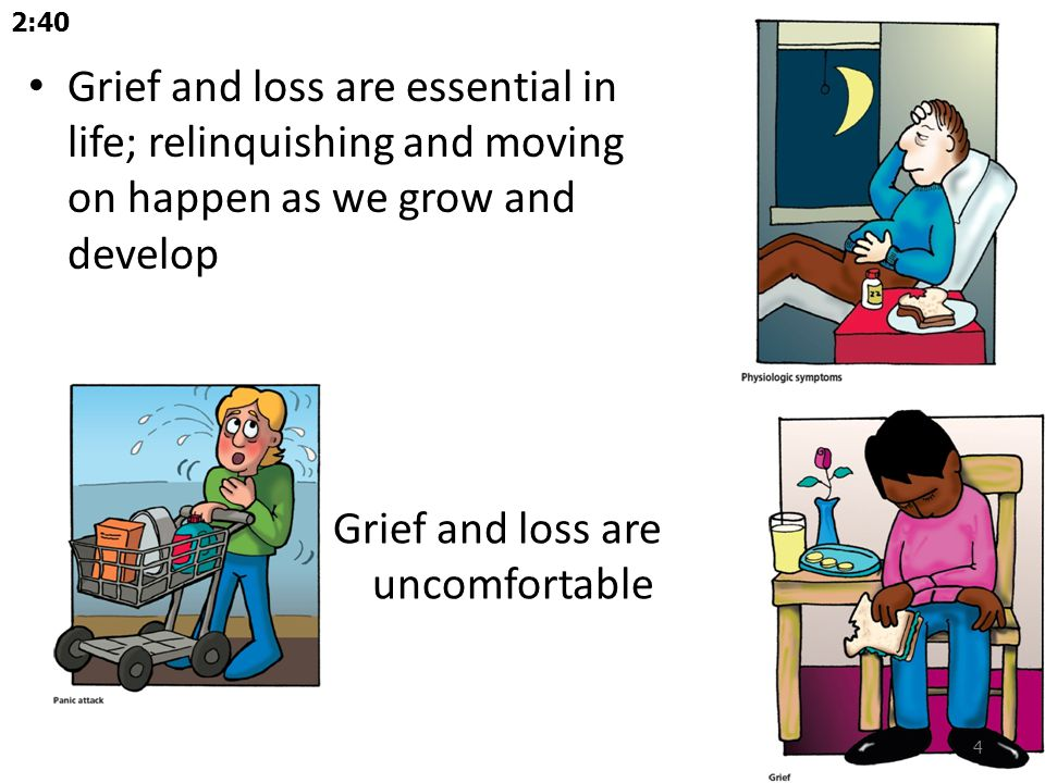 Vulnerable to complicated grieving – Low self-esteem – Low trust in others – A previous psychiatric disorder – Previous suicide threats or attempts – Absent or unhelpful family members – An ambivalent, dependent, or insecure attachment to the deceased person Story…-14:00 25