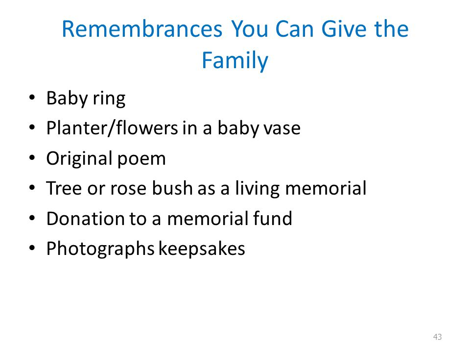 Remembrances You Can Give the Family Baby ring Planter/flowers in a baby vase Original poem Tree or rose bush as a living memorial Donation to a memorial fund Photographs keepsakes 43