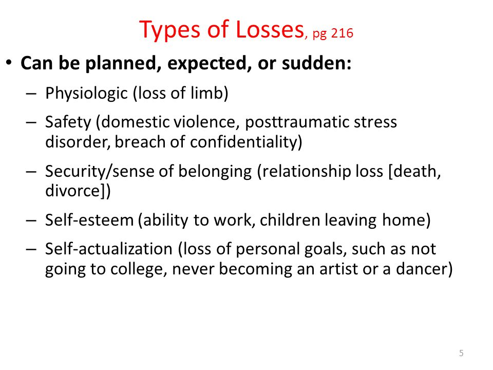 Types of Losses, pg 216 Can be planned, expected, or sudden: – Physiologic (loss of limb) – Safety (domestic violence, posttraumatic stress disorder, breach of confidentiality) – Security/sense of belonging (relationship loss [death, divorce]) – Self-esteem (ability to work, children leaving home) – Self-actualization (loss of personal goals, such as not going to college, never becoming an artist or a dancer) 5
