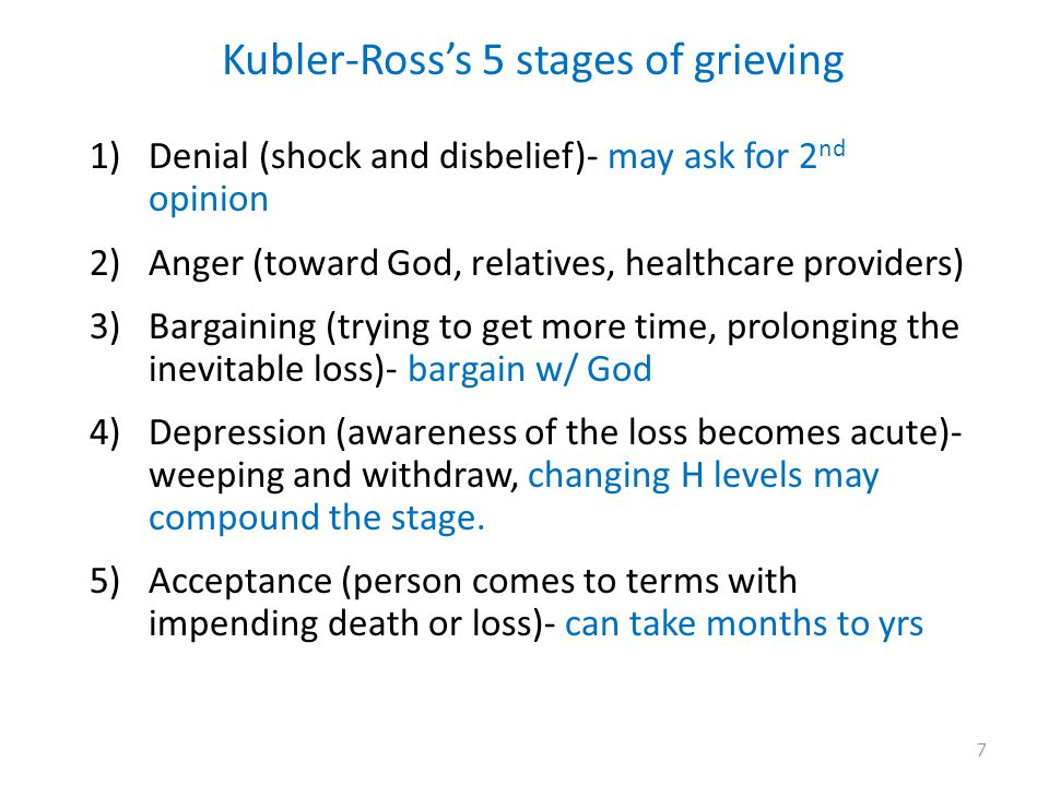 Kubler-Ross's 5 stages of grieving 1)Denial (shock and disbelief)- may ask for 2 nd opinion 2)Anger (toward God, relatives, healthcare providers) 3)Bargaining (trying to get more time, prolonging the inevitable loss)- bargain w/ God 4)Depression (awareness of the loss becomes acute)- weeping and withdraw, changing H levels may compound the stage.