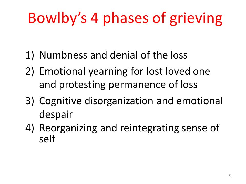 Bowlby's 4 phases of grieving 1)Numbness and denial of the loss 2)Emotional yearning for lost loved one and protesting permanence of loss 3)Cognitive disorganization and emotional despair 4)Reorganizing and reintegrating sense of self 9