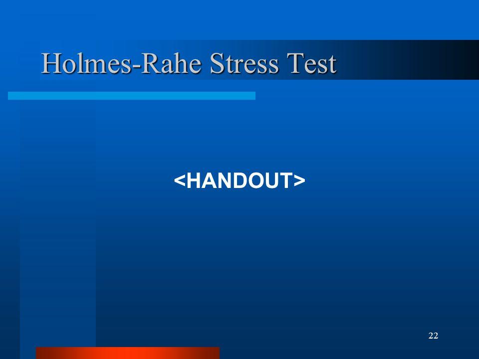 22 Holmes-Rahe Stress Test