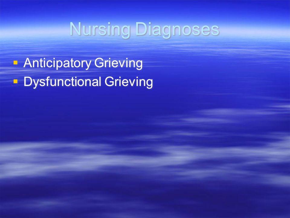 Nursing Diagnoses  Anticipatory Grieving  Dysfunctional Grieving  Anticipatory Grieving  Dysfunctional Grieving