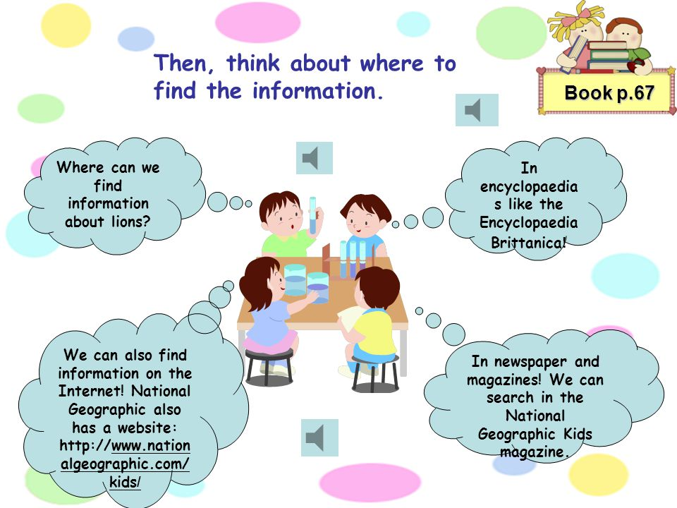Then, think about where to find the information.