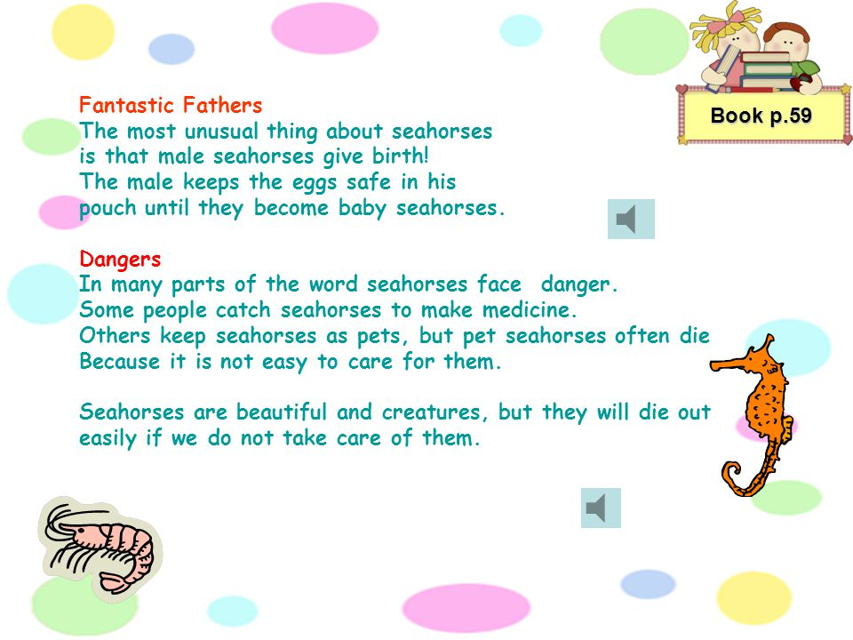 Book p.59 Fantastic Fathers The most unusual thing about seahorses is that male seahorses give birth.