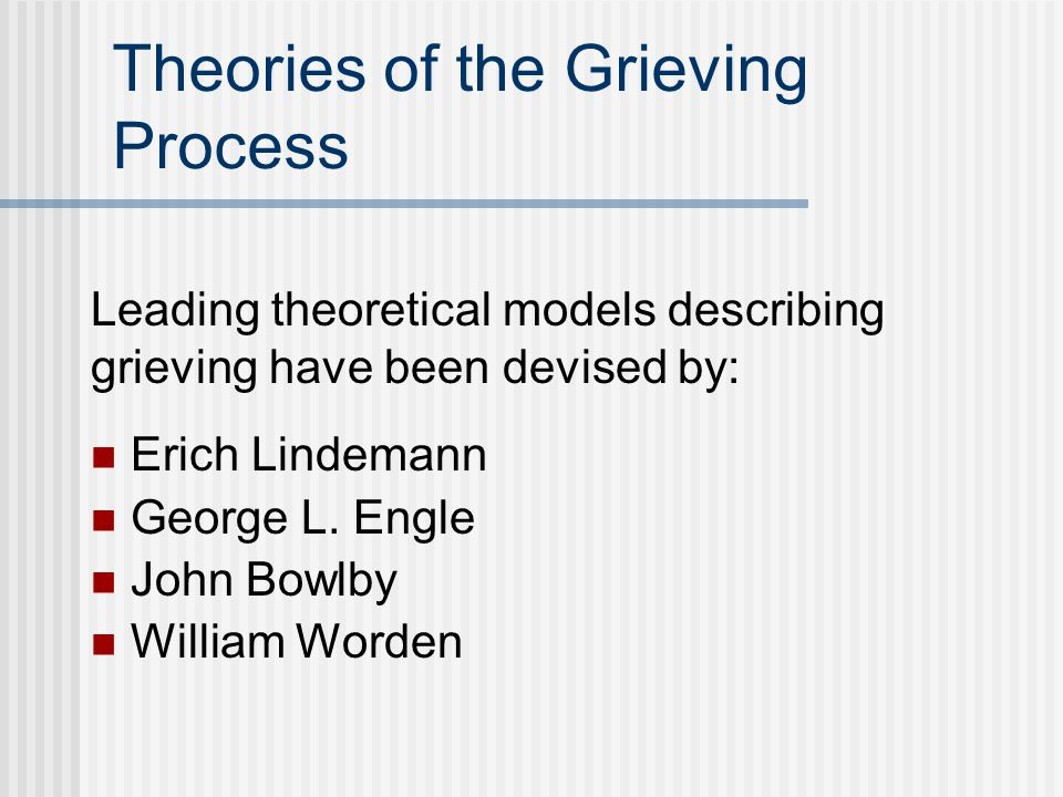 Theories of the Grieving Process Erich Lindemann George L.