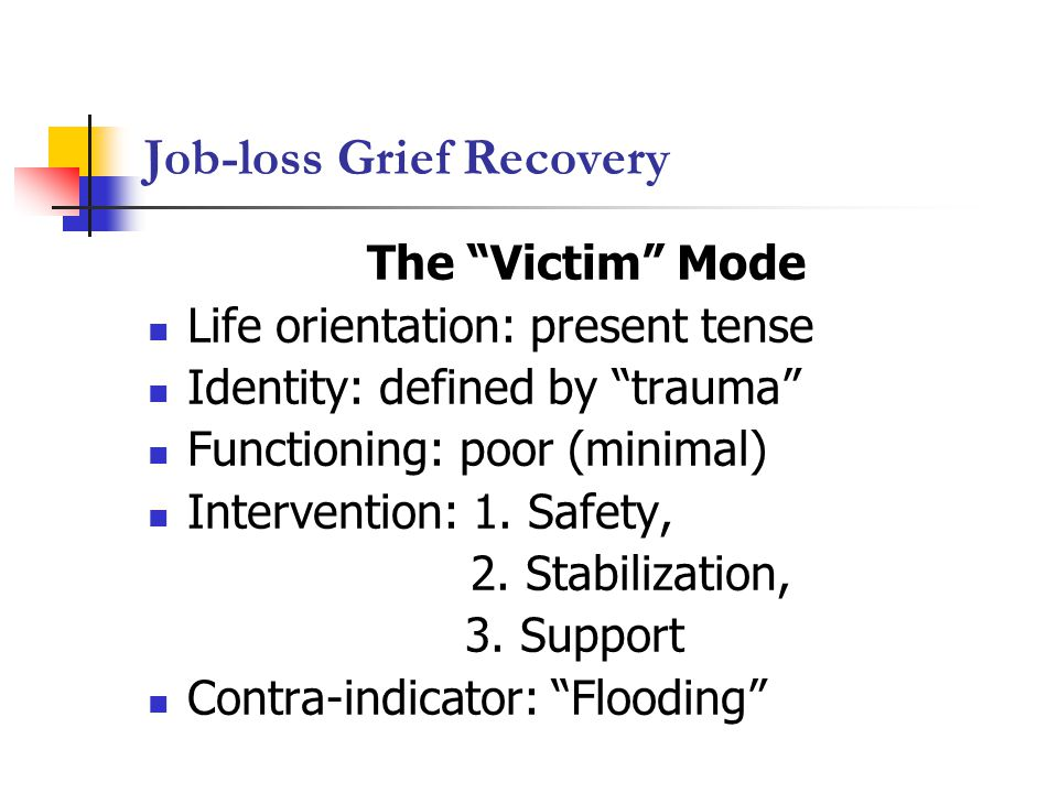 Job-loss Grief Recovery The Victim Mode Life orientation: present tense Identity: defined by trauma Functioning: poor (minimal) Intervention: 1.