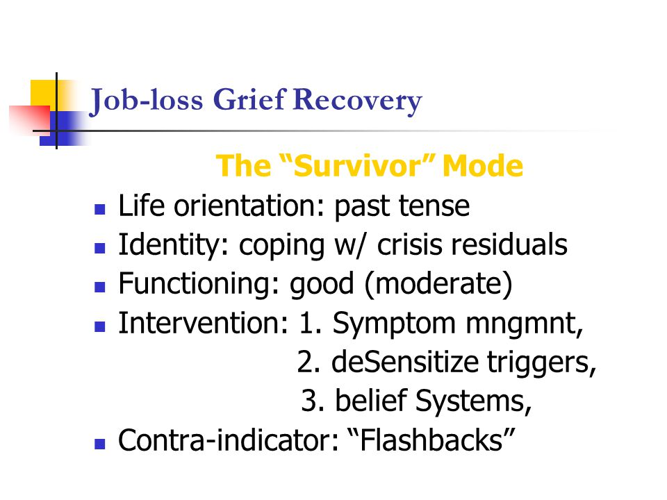 Job-loss Grief Recovery The Survivor Mode Life orientation: past tense Identity: coping w/ crisis residuals Functioning: good (moderate) Intervention: 1.