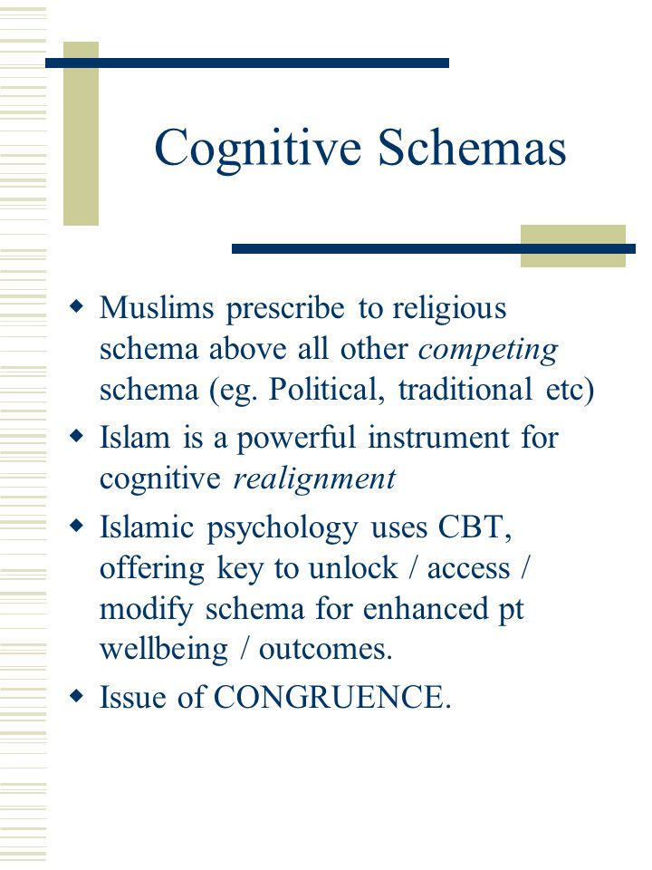 Cognitive Schemas  Muslims prescribe to religious schema above all other competing schema (eg. Political, traditional etc)  Islam is a powerful inst