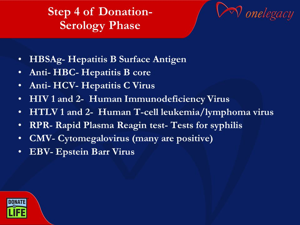 HBSAg- Hepatitis B Surface Antigen Anti- HBC- Hepatitis B core Anti- HCV- Hepatitis C Virus HIV 1 and 2- Human Immunodeficiency Virus HTLV 1 and 2- Human T-cell leukemia/lymphoma virus RPR- Rapid Plasma Reagin test- Tests for syphilis CMV- Cytomegalovirus (many are positive) EBV- Epstein Barr Virus Step 4 of Donation- Serology Phase