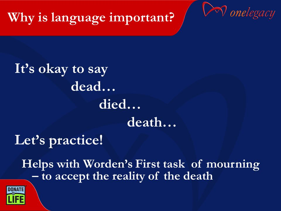 Why is language important. It's okay to say dead… died… death… Let's practice.