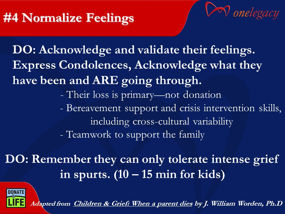 #4 Normalize Feelings Adapted from Children & Grief: When a parent dies by J.