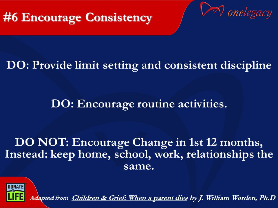 #6 Encourage Consistency Adapted from Children & Grief: When a parent dies by J.
