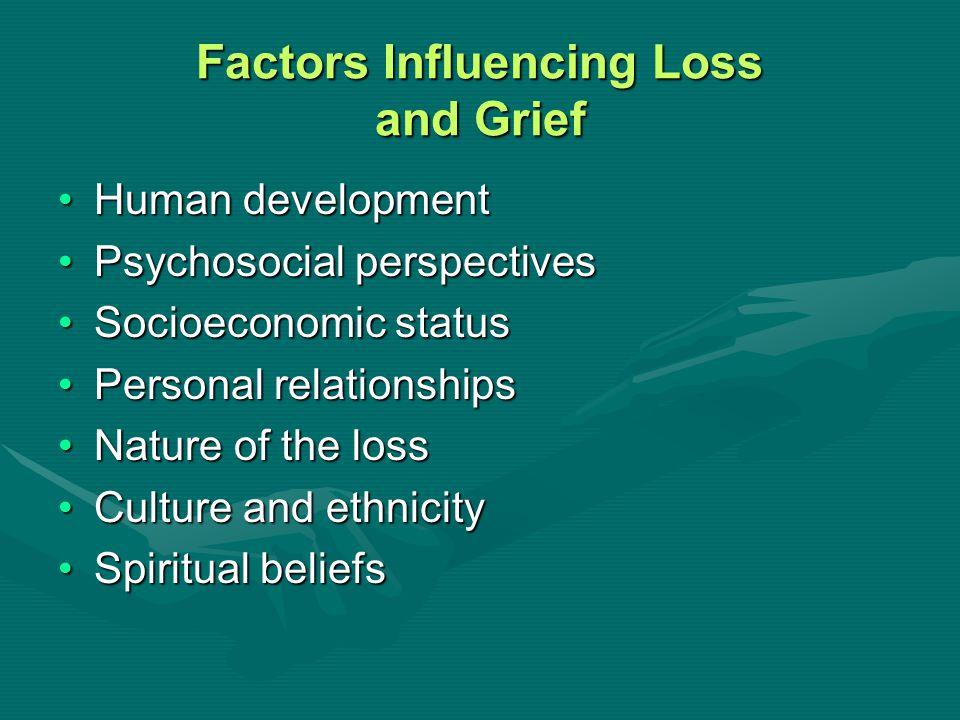 Factors Influencing Loss and Grief Human developmentHuman development Psychosocial perspectivesPsychosocial perspectives Socioeconomic statusSocioecon