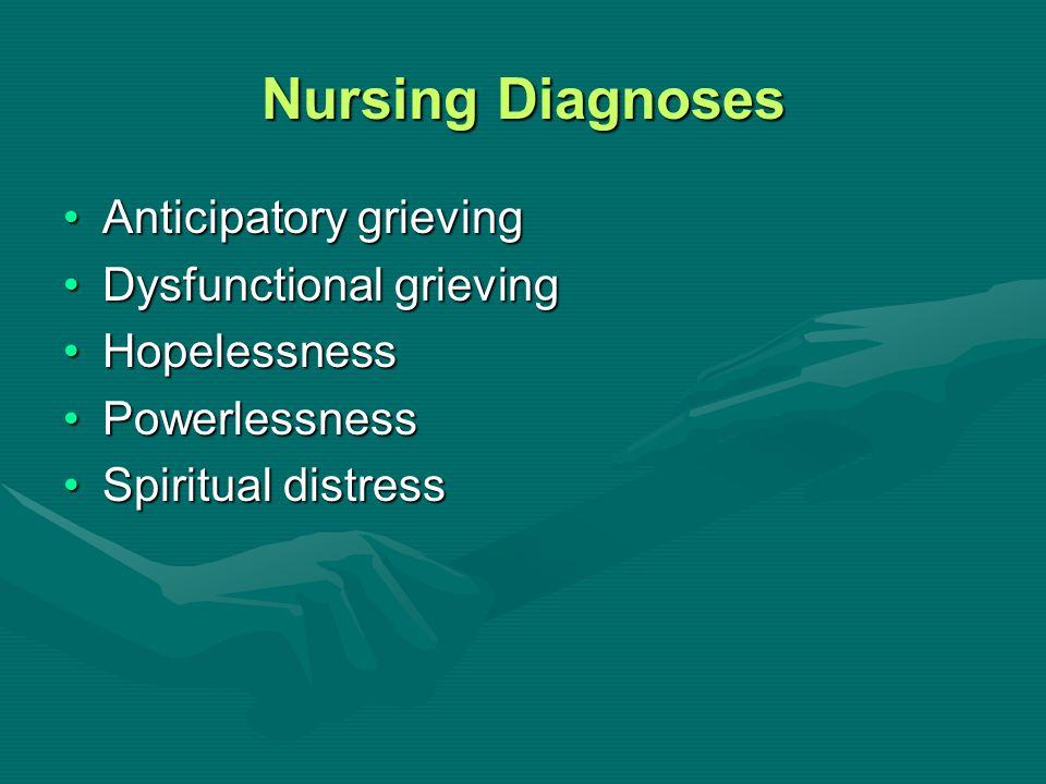 Nursing Diagnoses Anticipatory grievingAnticipatory grieving Dysfunctional grievingDysfunctional grieving HopelessnessHopelessness PowerlessnessPowerl