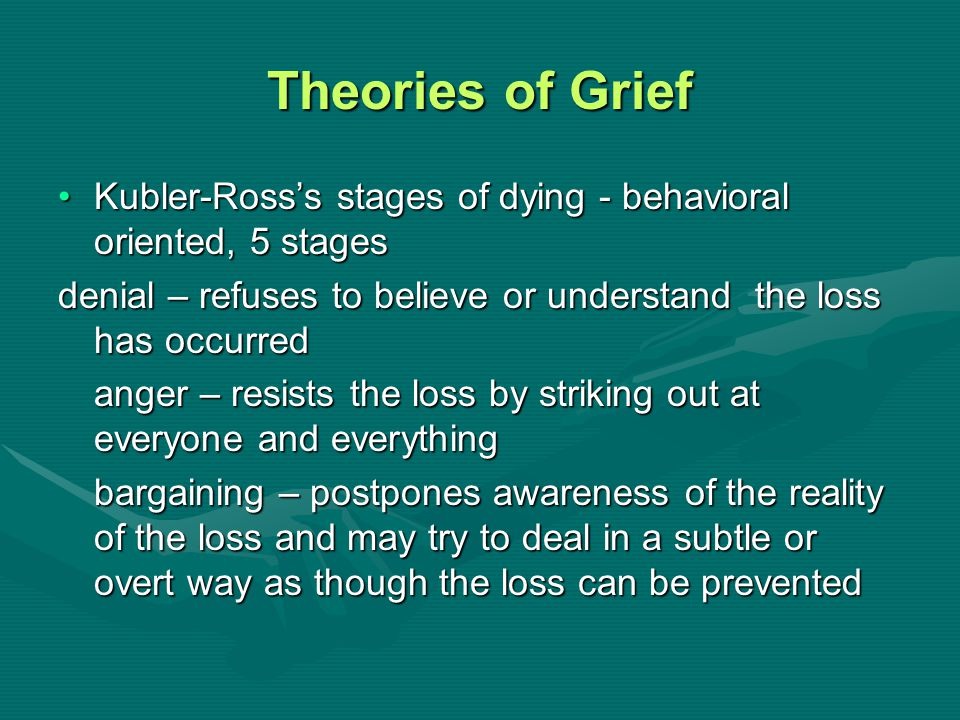Theories of Grief Kubler-Ross's stages of dying - behavioral oriented, 5 stagesKubler-Ross's stages of dying - behavioral oriented, 5 stages denial –