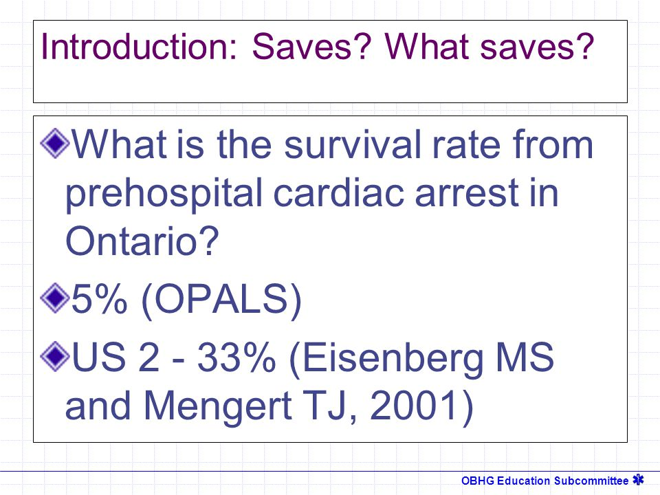 OBHG Education Subcommittee Introduction: Saves. What saves.