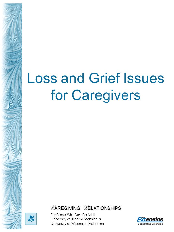 1 Loss and Grief Issues for Caregivers C AREGIVING R ELATIONSHIPS For People Who Care For Adults University of Illinois-Extension & University of Wisc