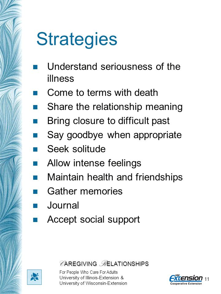11 Strategies Understand seriousness of the illness Come to terms with death Share the relationship meaning Bring closure to difficult past Say goodby