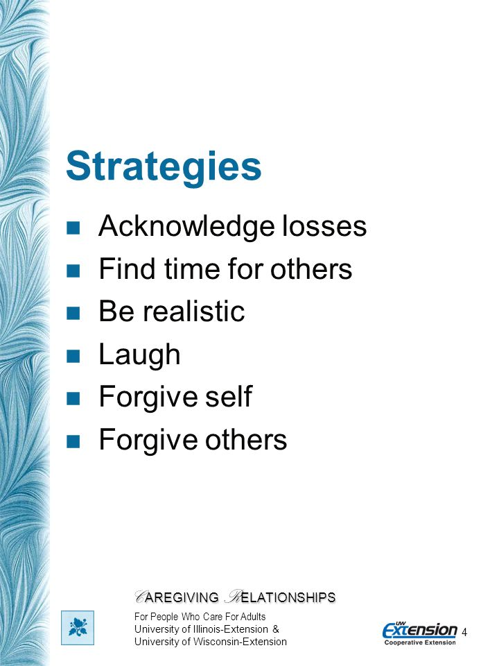 4 Strategies Acknowledge losses Find time for others Be realistic Laugh Forgive self Forgive others C AREGIVING R ELATIONSHIPS For People Who Care For