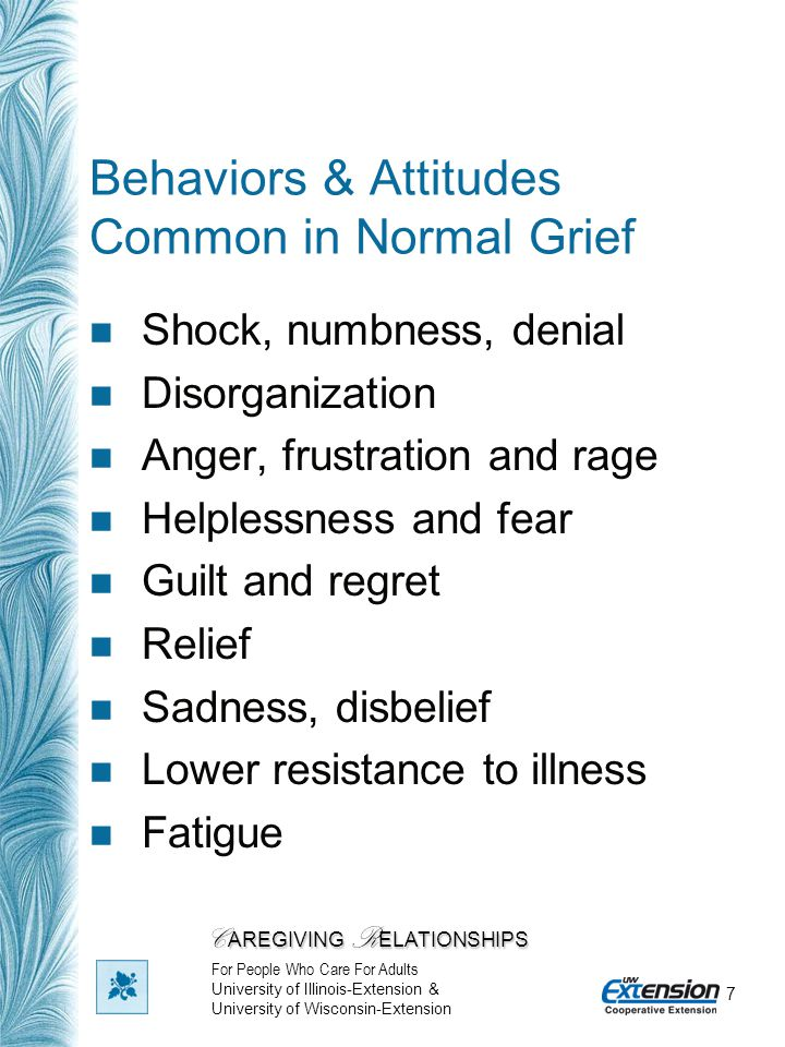 7 Behaviors & Attitudes Common in Normal Grief Shock, numbness, denial Disorganization Anger, frustration and rage Helplessness and fear Guilt and reg