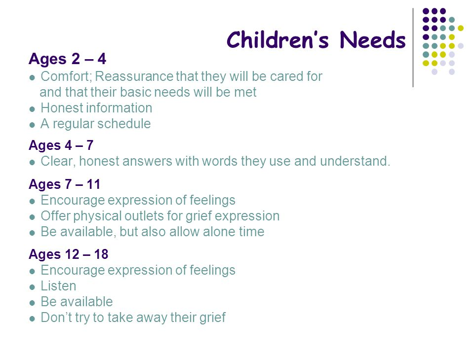 Children's Needs Ages 2 – 4 Comfort; Reassurance that they will be cared for and that their basic needs will be met Honest information A regular sched