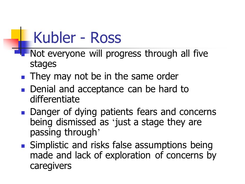 Kubler-Ross (1969) Described a five stage model of the grief of terminally ill people derived from her clinical work as a psychiatrist It has often been applied to grief following bereavement 1.
