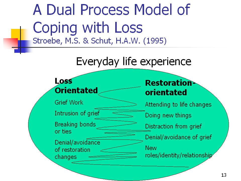 Bereavement Models (Continual)  Grief Work  Intrusion of Grief  Breaking bonds/ ties  Denial/ avoidance of changes  Attending to life changes  Doing new things  Distraction from grief  New roles / relationships EVERYDAY LIFE EXPERIENCE Loss OrientatedRestoration Orientated