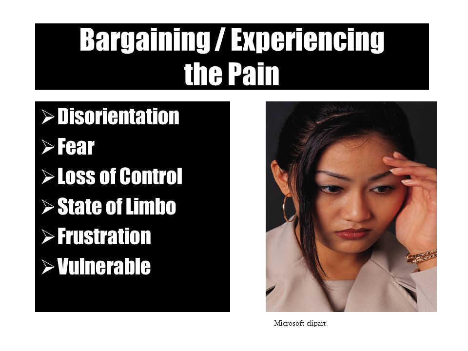 Bargaining / Experiencing the Pain  Disorientation  Fear  Loss of Control  State of Limbo  Frustration  Vulnerable Microsoft clipart