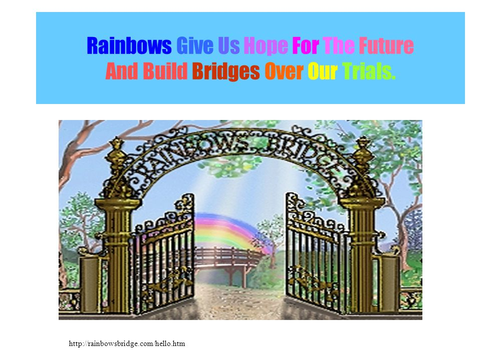 Rainbows Give Us Hope For The Future And Build Bridges Over Our Trials.