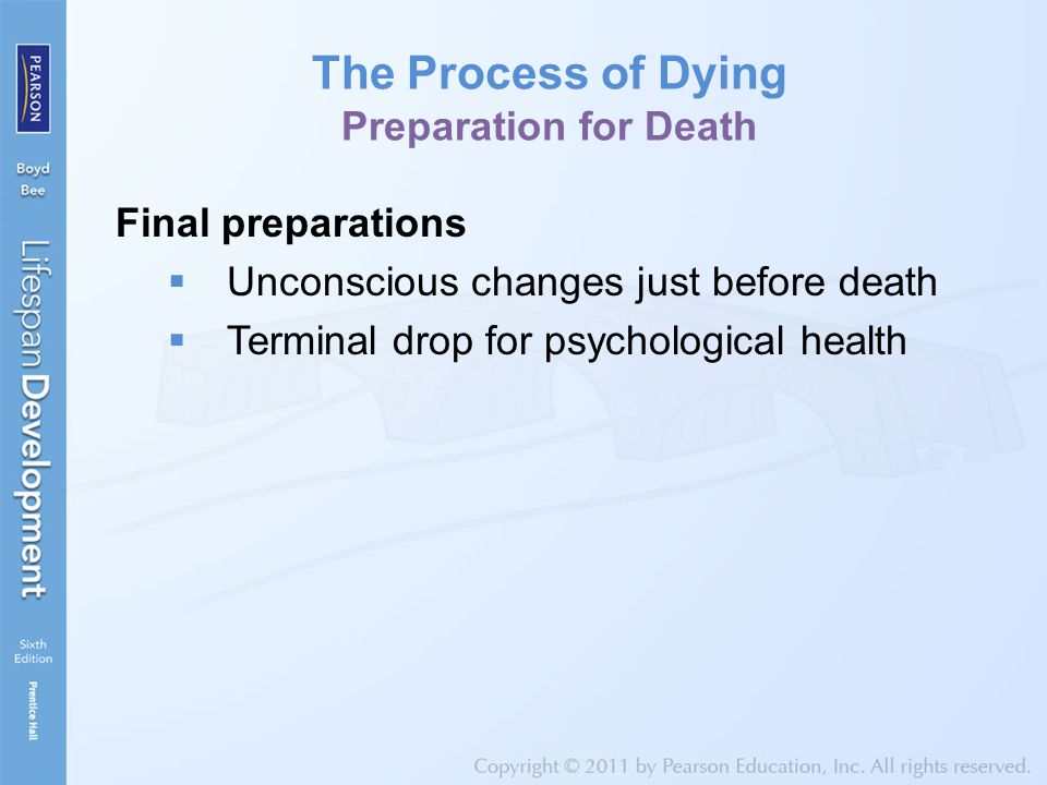 The Process of Dying Preparation for Death Final preparations  Unconscious changes just before death  Terminal drop for psychological health