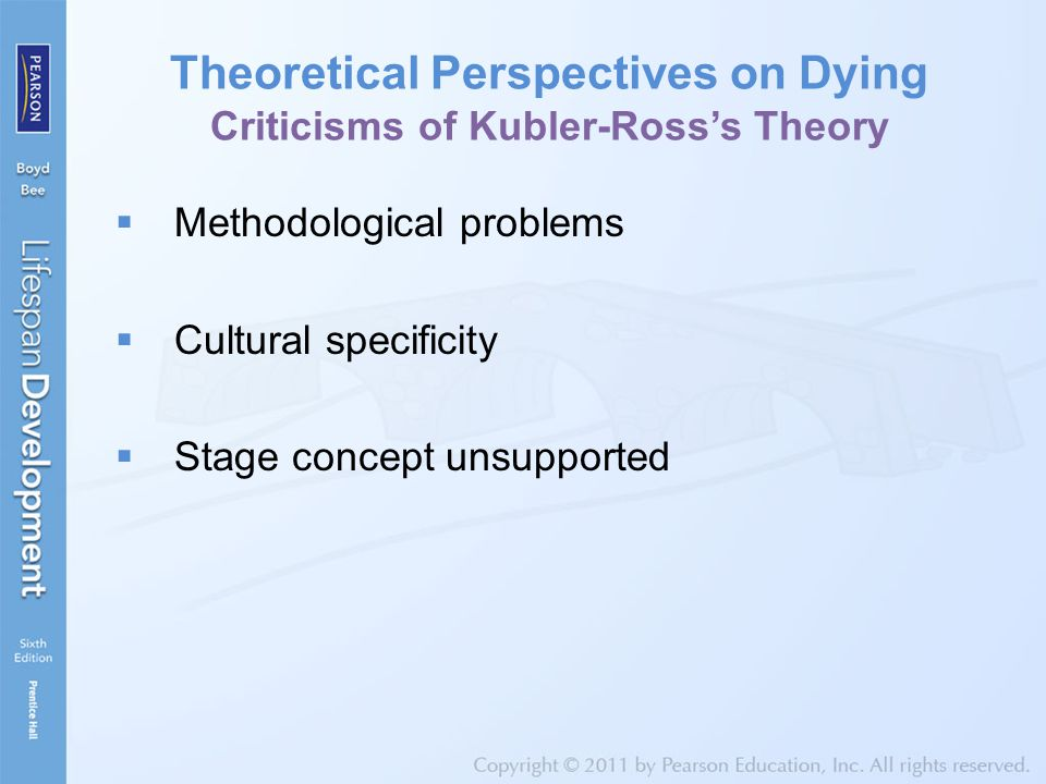 Theoretical Perspectives on Dying Criticisms of Kubler-Ross's Theory  Methodological problems  Cultural specificity  Stage concept unsupported