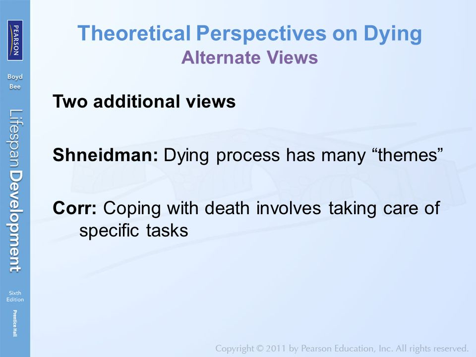 Theoretical Perspectives on Dying Alternate Views Two additional views Shneidman: Dying process has many themes Corr: Coping with death involves taking care of specific tasks