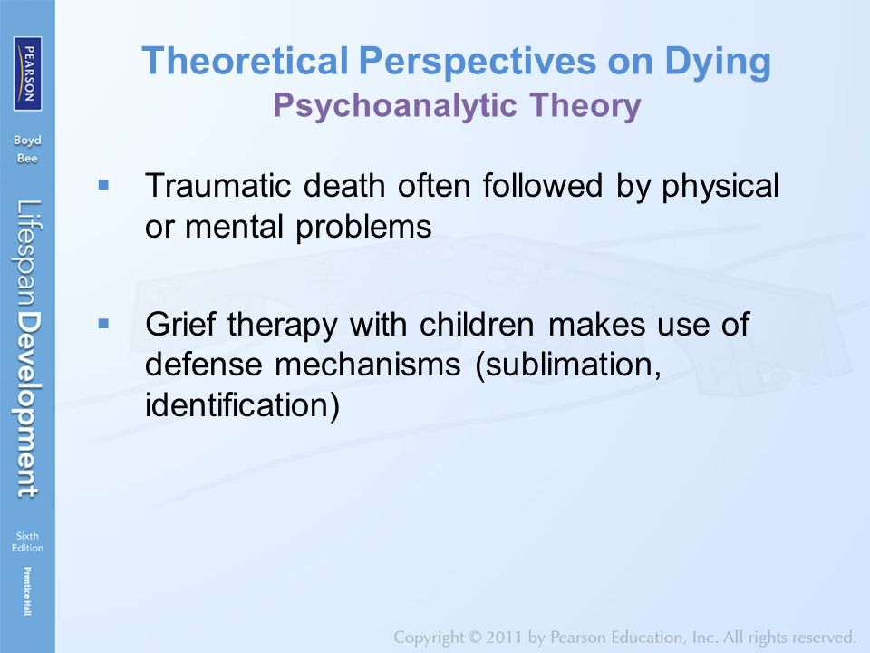 Theoretical Perspectives on Dying Psychoanalytic Theory  Traumatic death often followed by physical or mental problems  Grief therapy with children makes use of defense mechanisms (sublimation, identification)