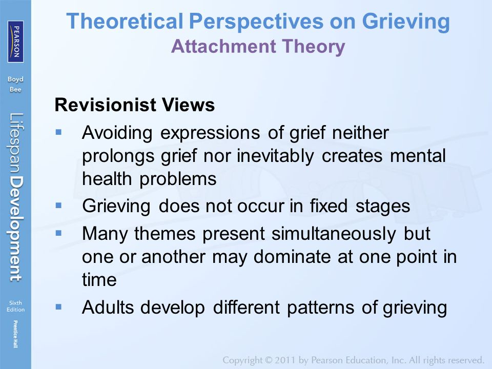 Theoretical Perspectives on Grieving Attachment Theory Revisionist Views  Avoiding expressions of grief neither prolongs grief nor inevitably creates mental health problems  Grieving does not occur in fixed stages  Many themes present simultaneously but one or another may dominate at one point in time  Adults develop different patterns of grieving