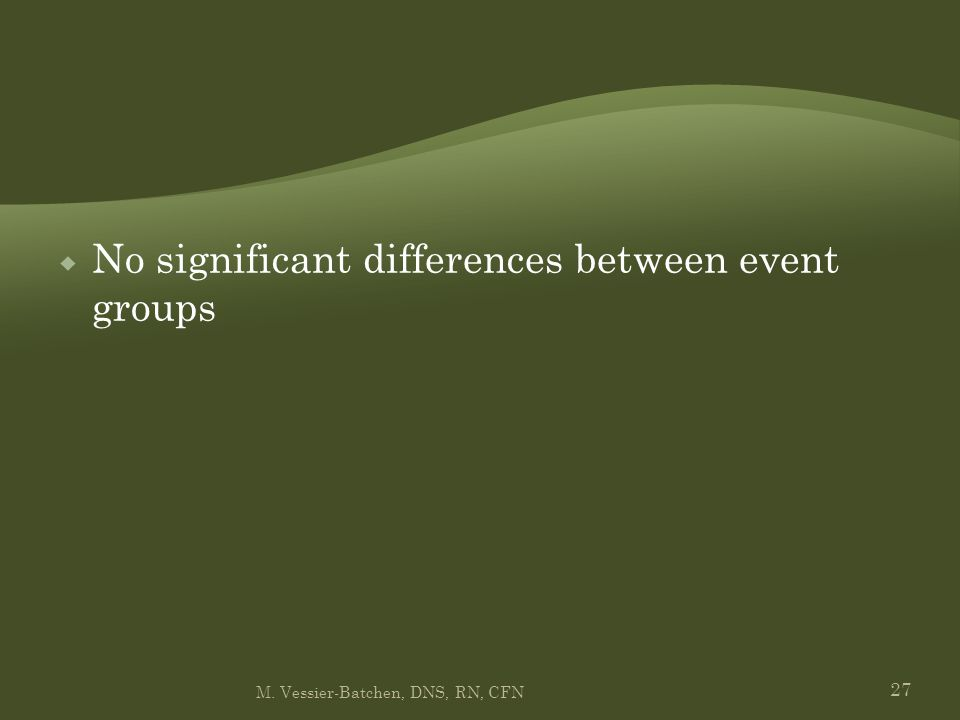 27  No significant differences between event groups M. Vessier-Batchen, DNS, RN, CFN