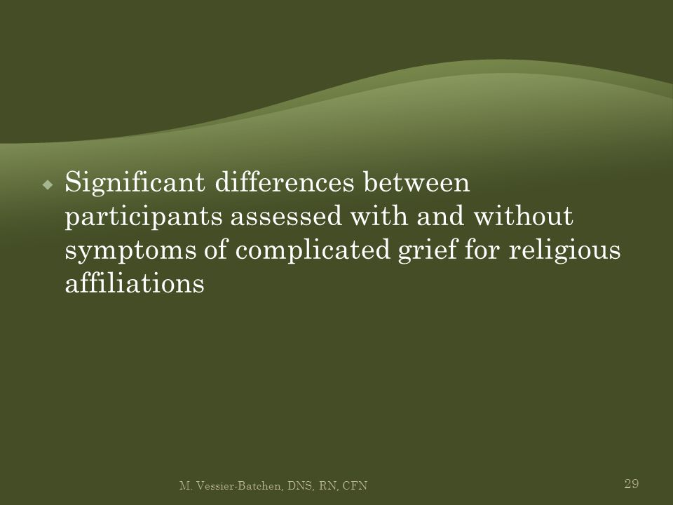 29  Significant differences between participants assessed with and without symptoms of complicated grief for religious affiliations M. Vessier-Batche