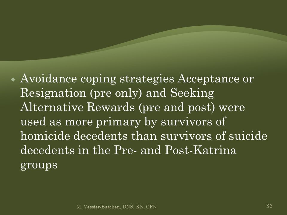 36  Avoidance coping strategies Acceptance or Resignation (pre only) and Seeking Alternative Rewards (pre and post) were used as more primary by surv
