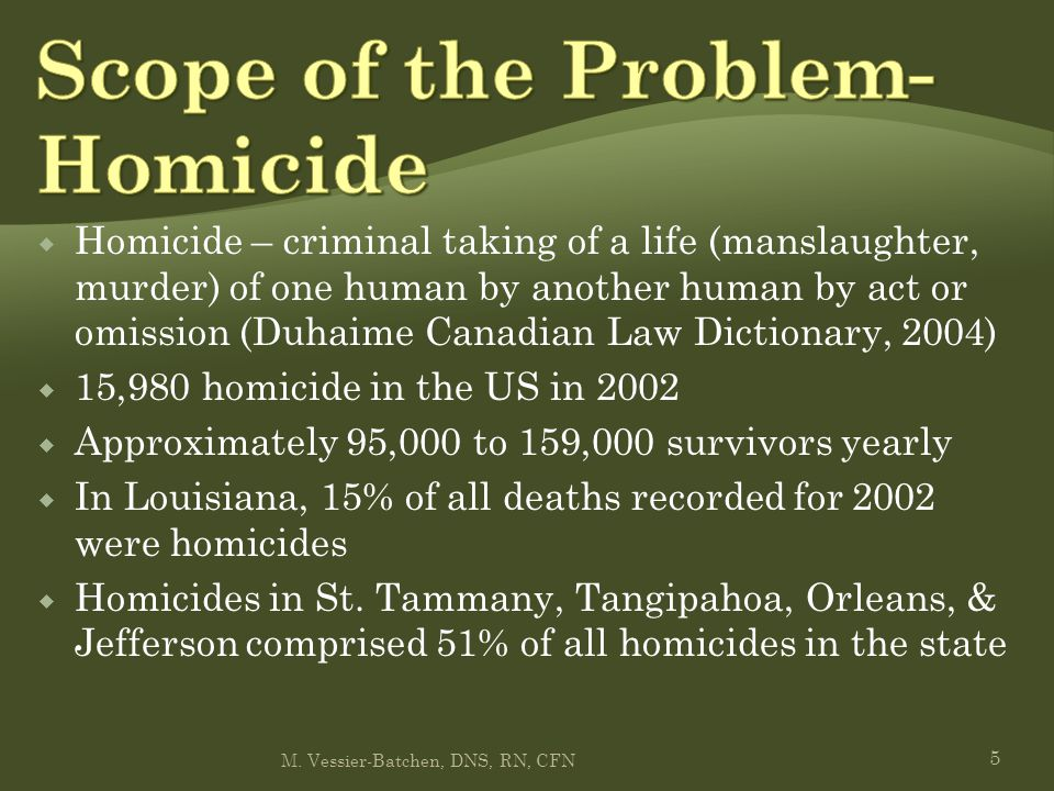  Self-murder  Approximately 30,000 suicides reported in US in 2002  Louisiana reported over 12% of all deaths as suicide; St.