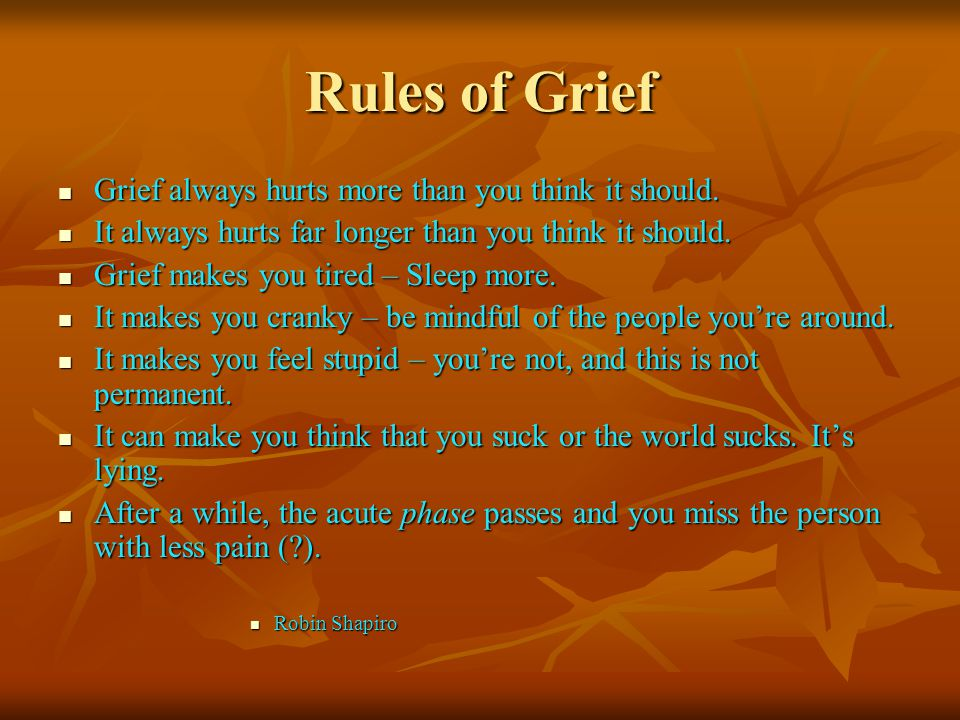 Rules of Grief Grief always hurts more than you think it should.