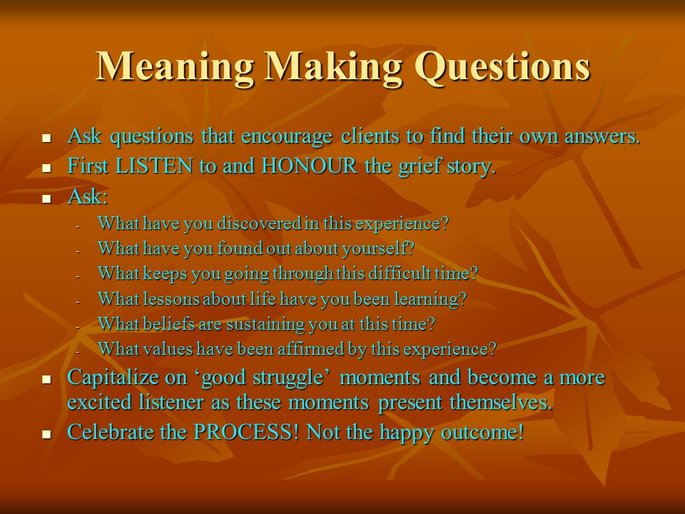 Meaning Making Questions Ask questions that encourage clients to find their own answers.